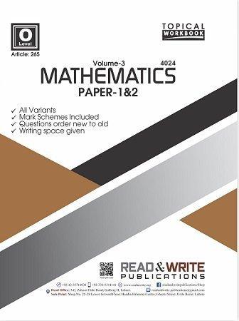 Math O Level Volume-3 Paper 1&2 Topical Workbook Art 265