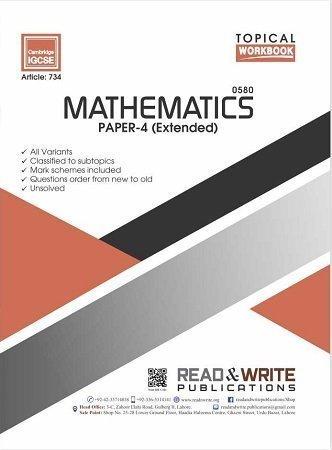 Mathematics IGCSE Paper-4 Topical Workbook Art 734