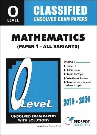 Redspot O Level Classified Mathematics P1 Unsolved past papera